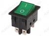 Сетевой выключатель RWB-514 (SC-767) зеленый широкий с подсветкой 29,5*22,2mm; 15A/250V; 6 pin