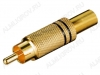 Разъем (1410) RCA штекер на кабель черный метал. Gold