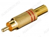 Разъем (1411) RCA штекер на кабель красный метал. Gold